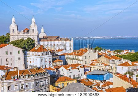 Panoramic view on Saint Vicente de Fora Monastery, Lisbon Portugal
