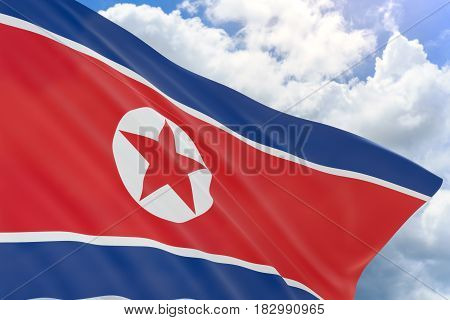 3D Rendering Of North Korea Flag Waving On Blue Sky
