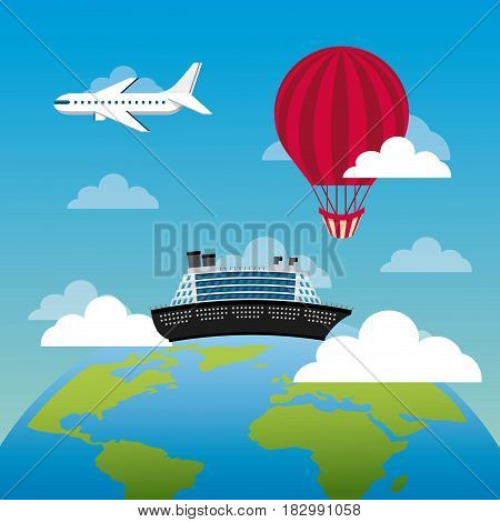 earth planet and big cruise with airplane and balloon flying. travel and tourism design. vector illustraiton