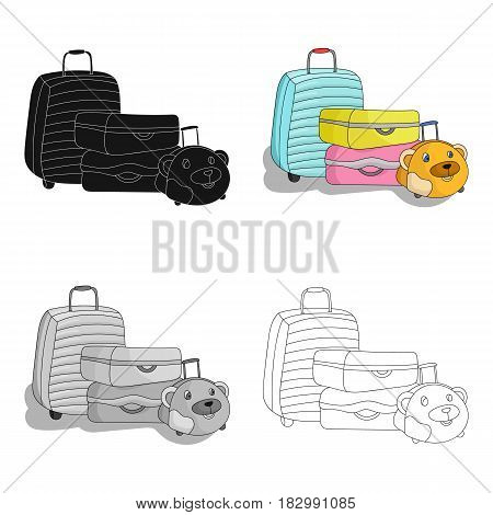 Luggage icon in cartoon design isolated on white background. Family holiday symbol stock vector illustration.