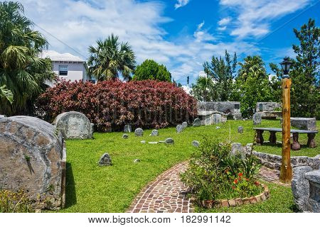 An old cemetery dating back to 1620 behind the old St Peters Church in St George's Bermuda.
