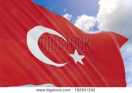 3D Rendering Of Turkey Flag Waving On Blue Sky Background