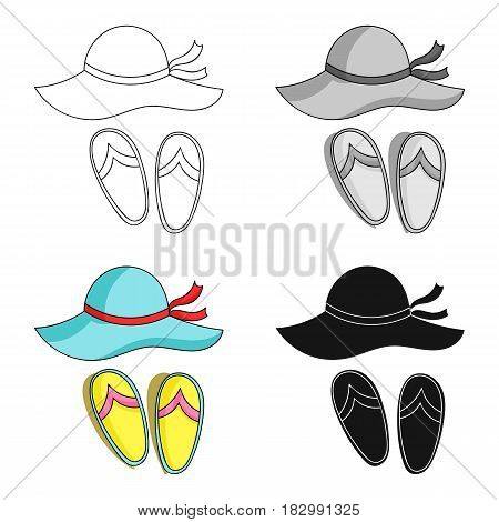 Beach hat with flip-flops icon in cartoon design isolated on white background. Family holiday symbol stock vector illustration.