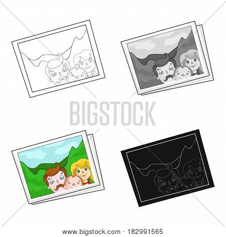 Family photo portrait icon in cartoon design isolated on white background. Family holiday symbol stock vector illustration.