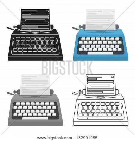 Typewriter icon in cartoon style isolated on white background. Films and cinema symbol vector illustration.