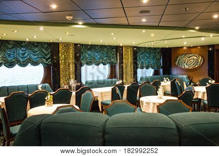 Cruise liner Solendida - April 23, 2017: Restaurant interior on cruise liner Solendida. Served tables
