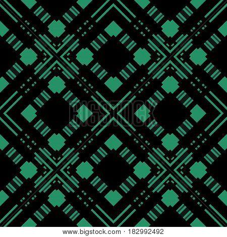 Seamless checkered plaid pattern on black background