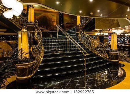Cruise liner Splendida - April 3, 2017: Interior of cruise liner Splendida, MSC