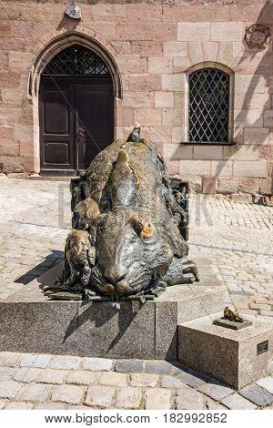 Nuremberg, Germany - April 5, 2017: Rabbit sculpture - Tribute to Albrecht Durer