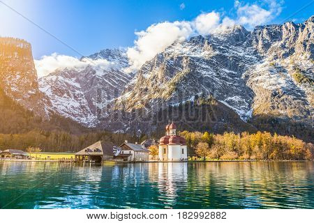 Lake Königssee With St. Bartholomä Pilgrimage Church In Fall, Bavaria, Germany
