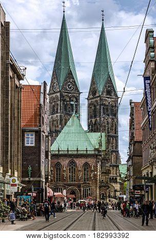 Bremen, Germany - April 2, 2017: Cathedral church (Bremer Dom) in Bremen, Germany