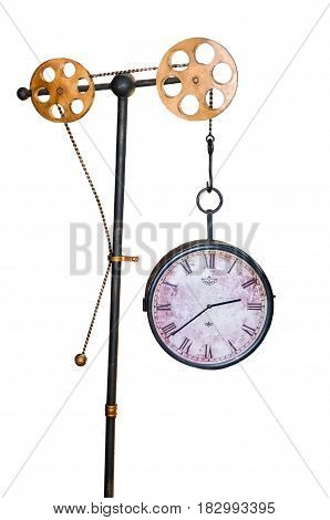 vintage antique clock isolated on white background with gears.