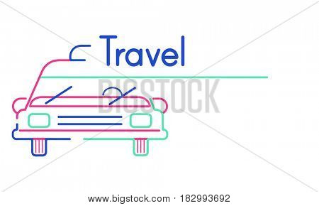 Illustration of automotive car rental transportation