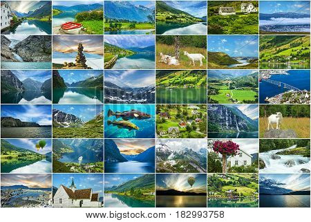 Norway natural landscapes travel collage, nature and sceneries