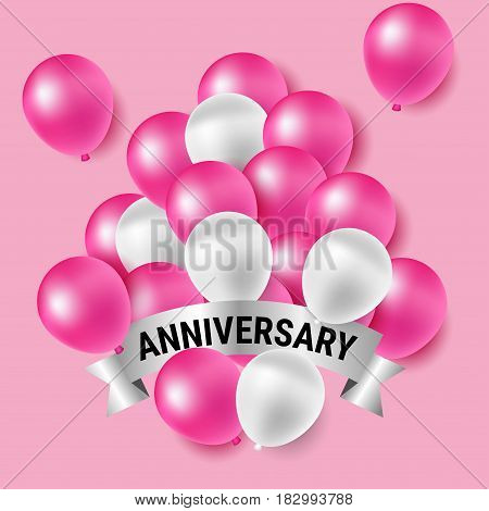 Beautiful pink and white party balloons for anniversary celebration