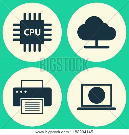 Computer Icons Set. Collection Of Tree, Web, Motherboard And Other Elements. Also Includes Symbols Such As Motherboard, Screen, Microprocessor.