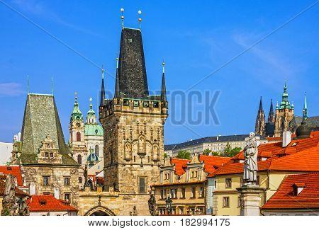Prague Charles bridge architecture in Czech Republic