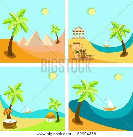 illustration the journey tropical island, Greece, Egypt, Bali