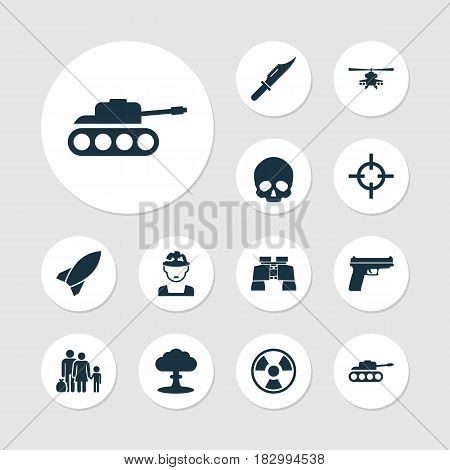 Battle Icons Set. Collection Of Missile, Target, Cutter And Other Elements. Also Includes Symbols Such As Cutter, Mechanism, Sniper.