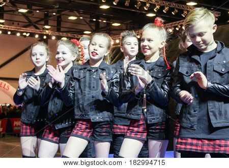 St. Petersburg Russia - 15 April, Young participants in a hip-hop group,15 April, 2017. International Motor Show IMIS-2017 in Expoforurum. Dance show group of teenagers in the style of hip-hop.