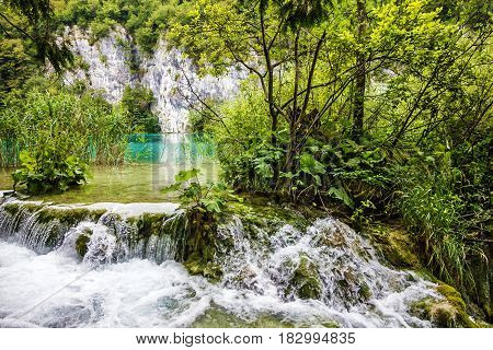 Waterfall of Plitvice lake, Croatia, natural travel background national park