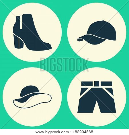 Garment Icons Set. Collection Of Trilby, Trunks Cloth, Elegant Headgear And Other Elements. Also Includes Symbols Such As Boots, Shorts, Visor.