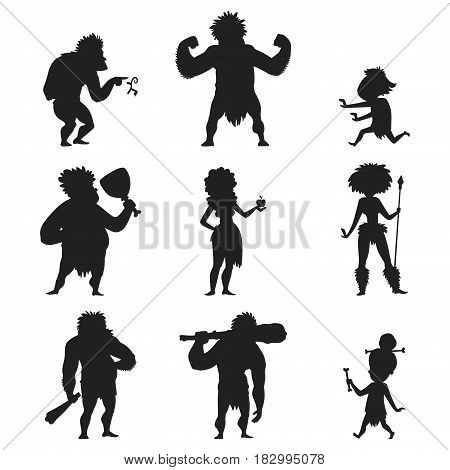Caveman primitive stone age cartoon black silhouette neanderthal people action character evolution vector illustration. prehistoric muscular warrior anthropology homo evolution family.