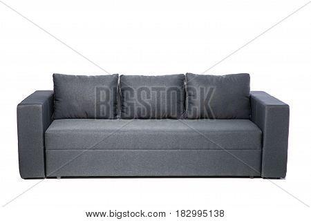 Grey Sofa Isolated On White Background