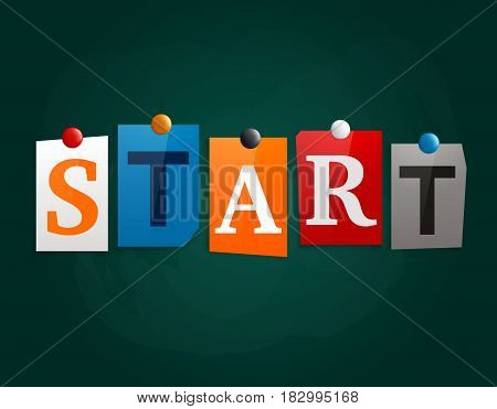 The word Start made from newspaper letters attached to a blackboard or noticeboard with magnets.