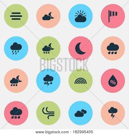 Weather Icons Set. Collection Of Douche, Night, Colors And Other Elements. Also Includes Symbols Such As Drop, Crescent, Moisture.