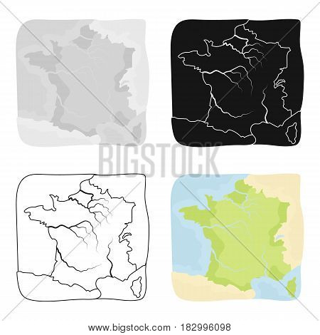Territory of France icon in cartoon design isolated on white background. France country symbol stock vector illustration.