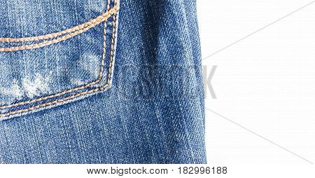 Jeans Close-up, Old, Pocket Back, Front, Crumpled, Torn.isolated On White Background
