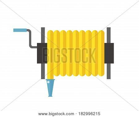 Fire hose reel sign isolated vector illustration metal pressure prevention street hose water emergency equipment. City department firefighter services tool.