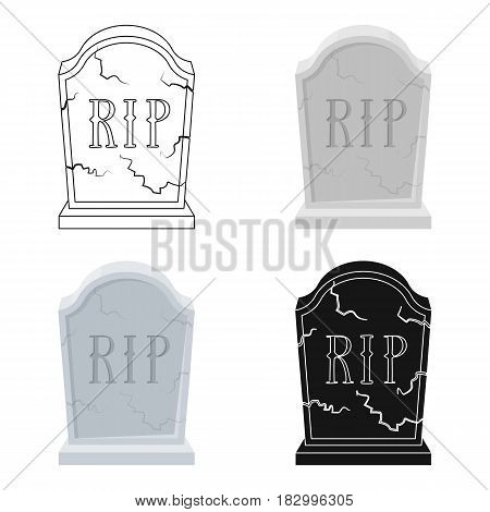 Headstone icon in cartoon design isolated on white background. Funeral ceremony symbol stock vector illustration.