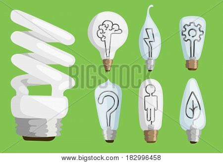 Creative idea inspiration lamps vector and solution creative idea lamp icon set. Human, head, pencil, candle, brain, gear, leaf icons vector illustration. Cartoon lamp bulb object electricity art.