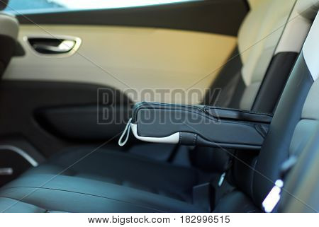 armrest in the luxury passenger car, rear seats