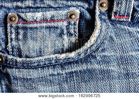 Jeans Close-up, Old, Pocket Back, Front, Crumpled, Ragged.