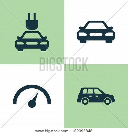 Auto Icons Set. Collection Of Chronometer, Car, Plug And Other Elements. Also Includes Symbols Such As Electric, Automobile, Speedometer.
