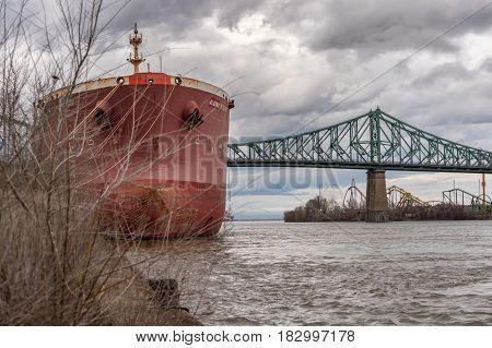 Montreal CA - 21 April 2017: Jacques-Cartier Bridge and Saint-Lawrence River.