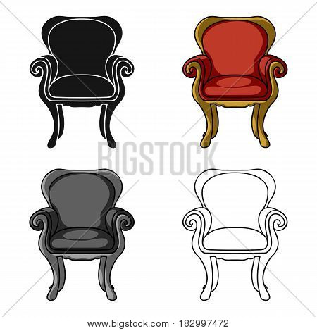 Wing-back chair icon in cartoon style isolated on white background. Furniture and home interior symbol vector illustration.