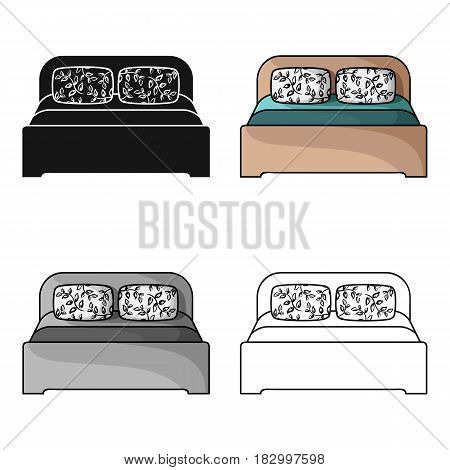 Wooden double bed icon in cartoon style isolated on white background. Furniture and home interior symbol vector illustration.