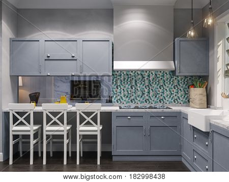 3d illustration of the interior design of the beautiful kitchen in a classic style. Render the visualization of the interior in a modern in gray tones and a large window
