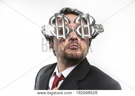 Salary Businessman with suit and glasses in the form of dollars. Expressions of stress, overwhelm and craving for money