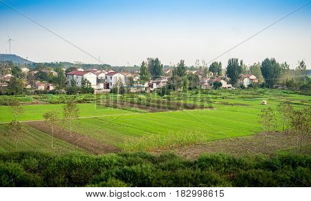 Tianjin, China - Nov 1, 2016: Image captured on High Speed Rail (HSR) from Tianjin to Shanghai, passing countryside with a distant wind generator and small farming township. Average speed: 300 km/h.