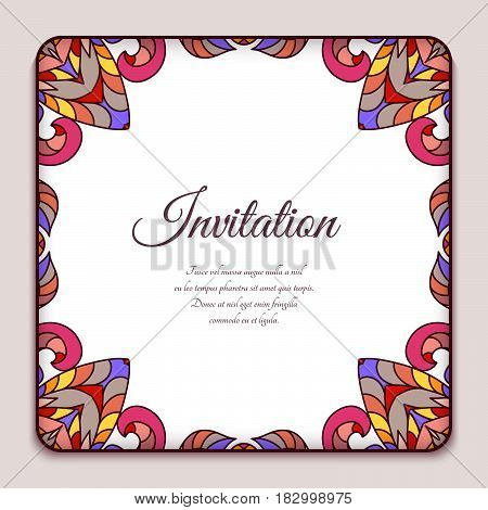Square frame with border ornament of autumn leaves, colorful decorative element for greeting card or packaging design