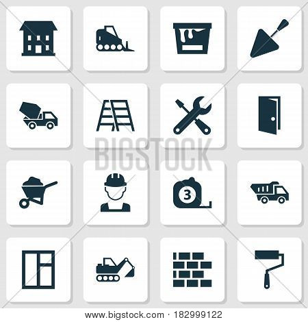 Architecture Icons Set. Collection Of Service, Wall, Truck And Other Elements. Also Includes Symbols Such As Climb, Tipper, Engineer.