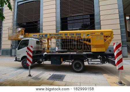 Construction Truck On Street In Kuala Lumpur, Malaysia