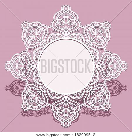 Round paper frame, lace doily under the cake, wedding announcement or invitation design