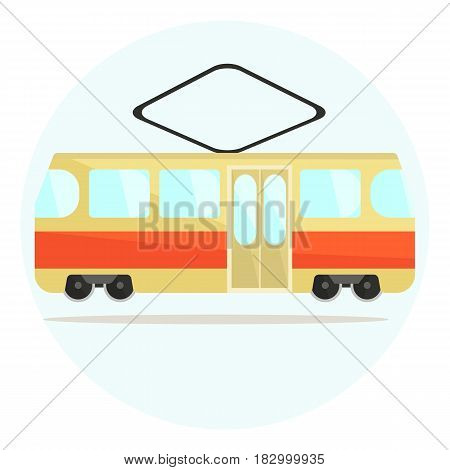 Colorful flat vector tram icon, beige and red streetcar icon