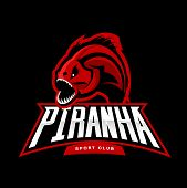 Furious piranha sport vector logo concept isolated on black background. Modern professional team predator badge design.Premium quality wild fearsome fish t-shirt tee print illustration. poster